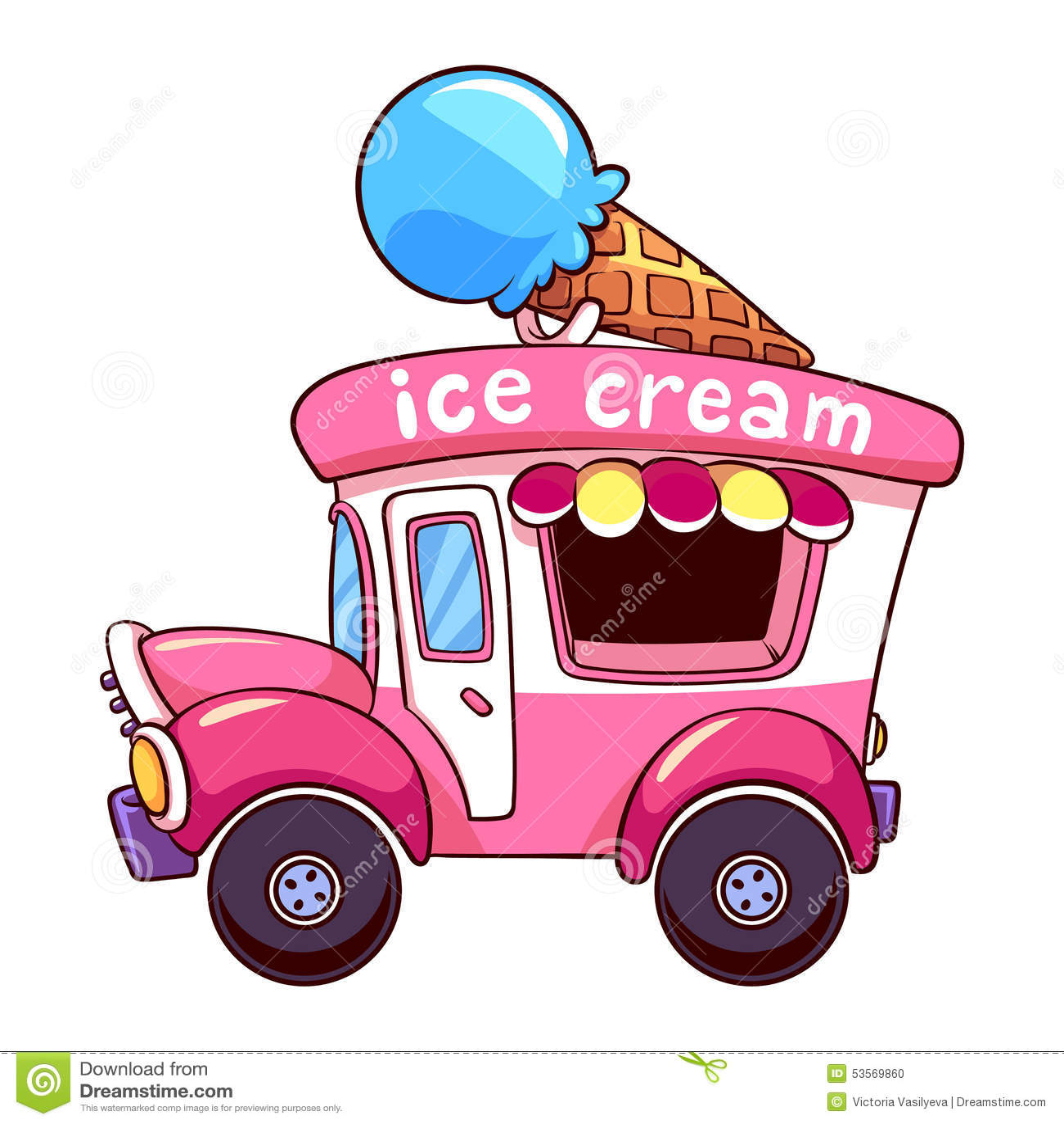 3d Snow Falling Wallpaper Cartoon Pink Ice Cream Truck On а White Background Stock