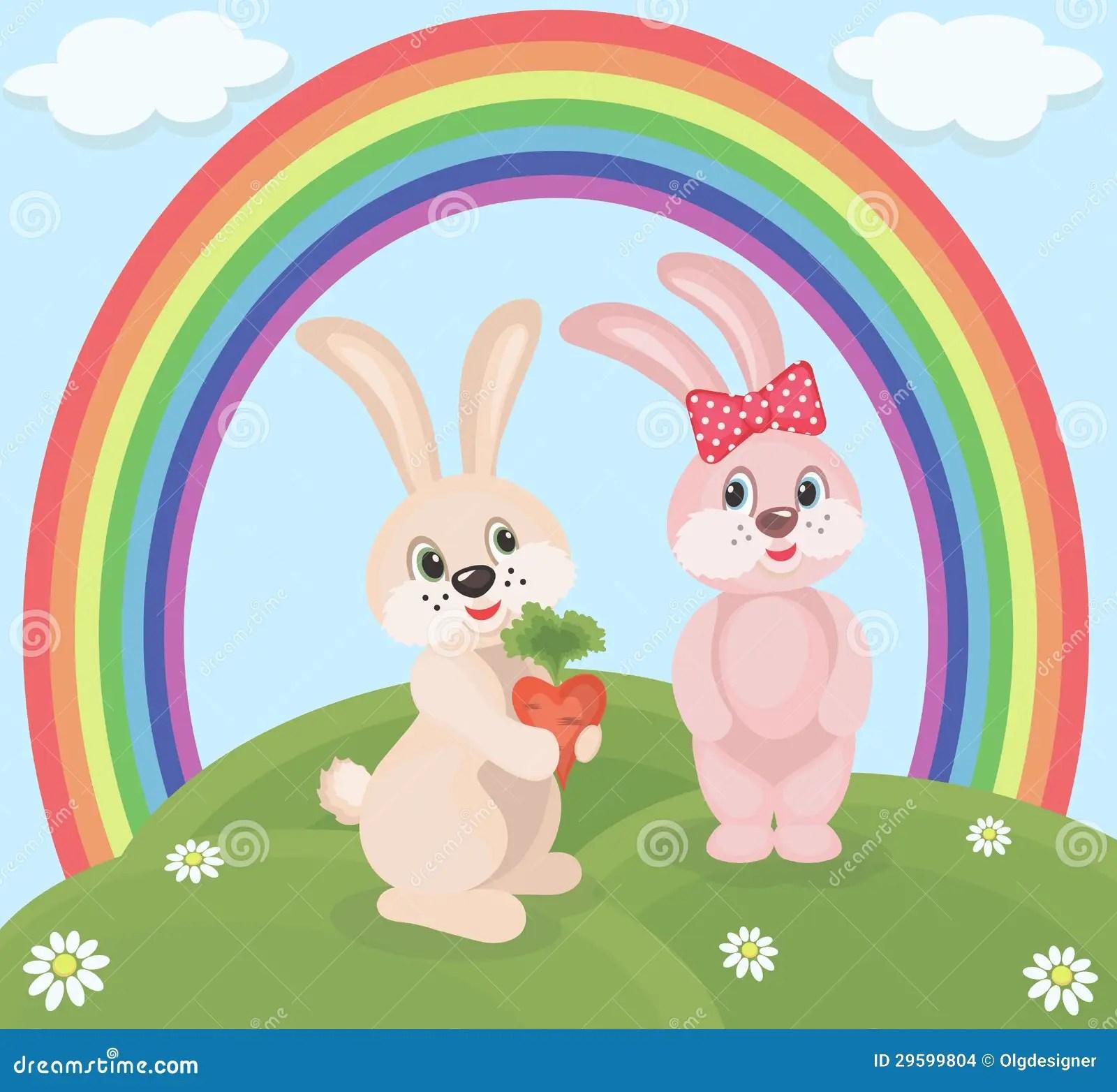 Animated Happy Birthday Wallpaper Free Download Cartoon Rabbits Stock Vector Image Of Delicacy Children