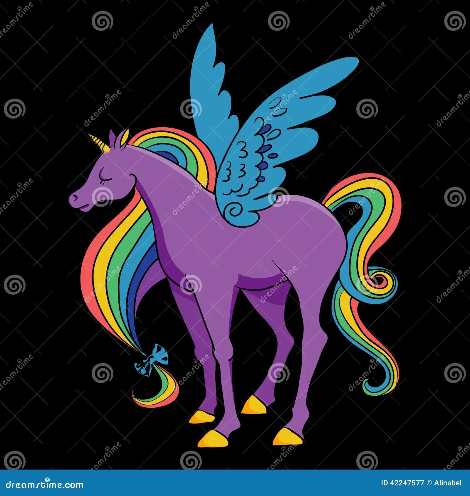 Cute Cartoon Horse Wallpaper Cartoon Rainbow Colored Unicorn Stock Vector Image 42247577