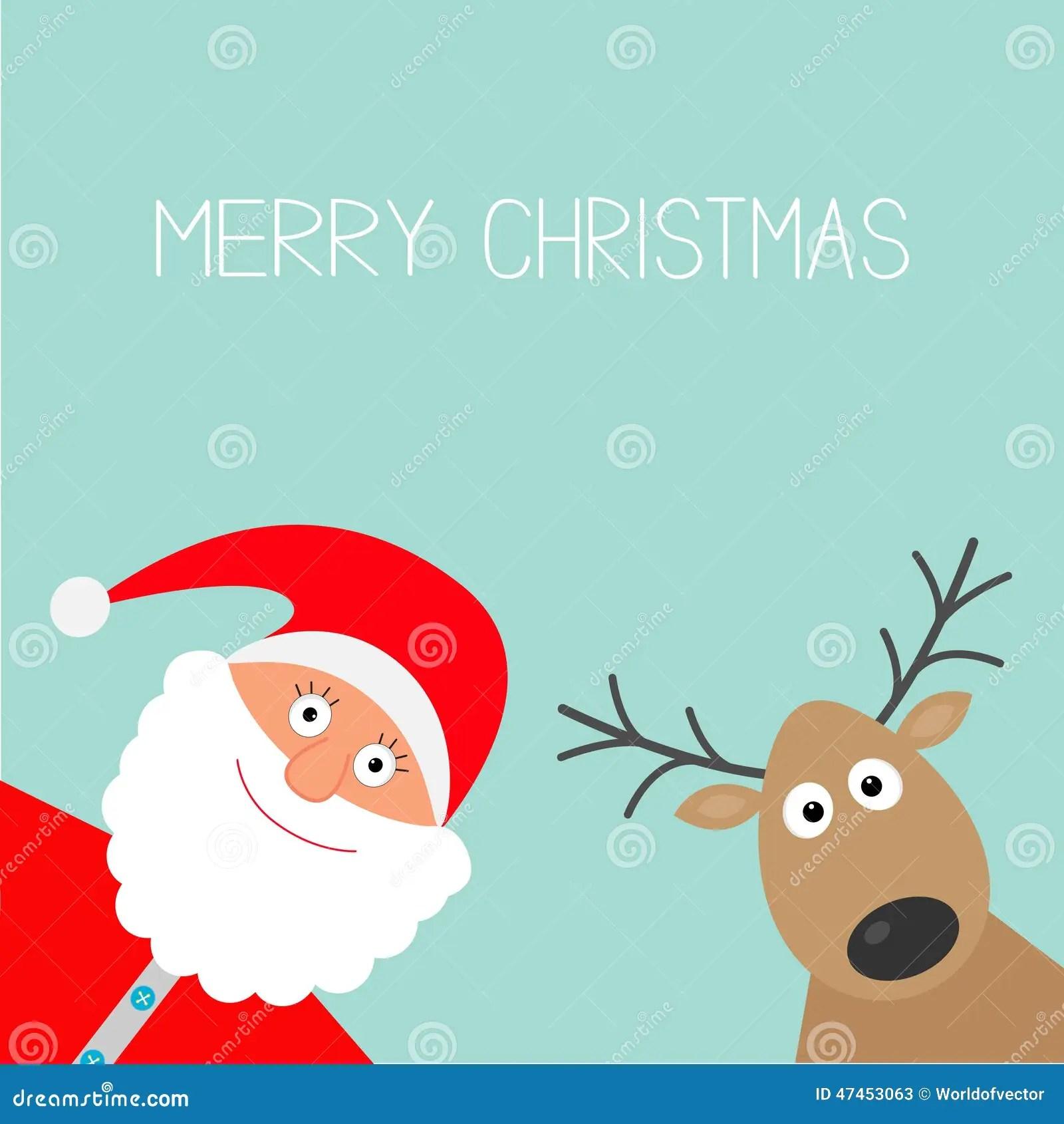 Cute Penguin Wallpaper Cartoon Cartoon Santa Claus And Deer Merry Christmas Card Flat