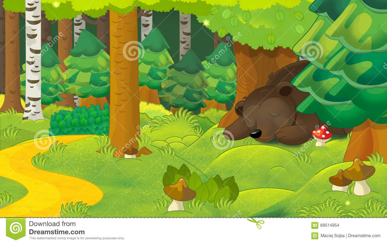 Colorful Animal Print Wallpaper Cartoon Scene With A Bear Sleeping In The Forest Stock