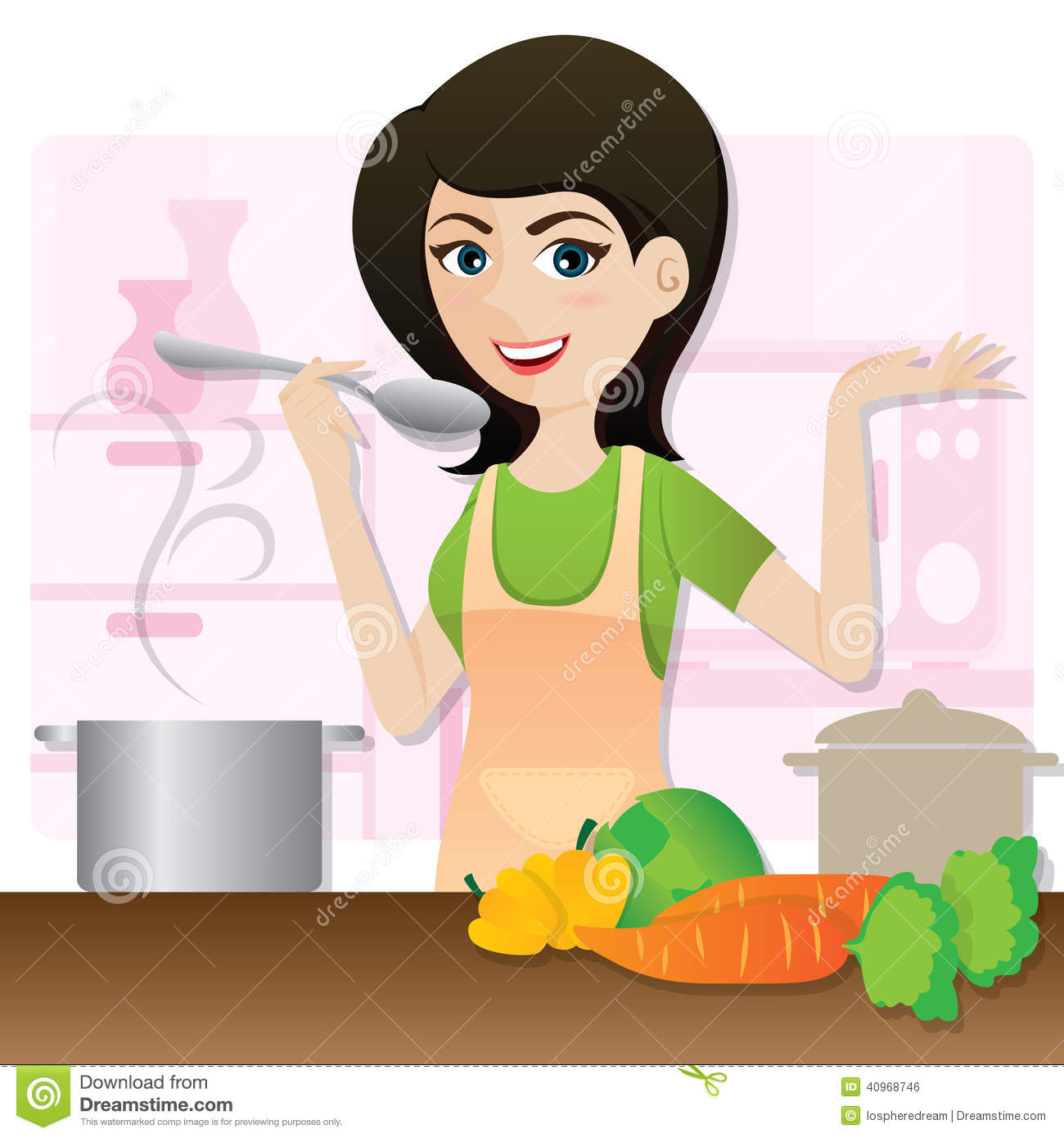 Bilder Cartoon Küche Cartoon Smart Girl Cooking Vegetarian Soup In Kitchen