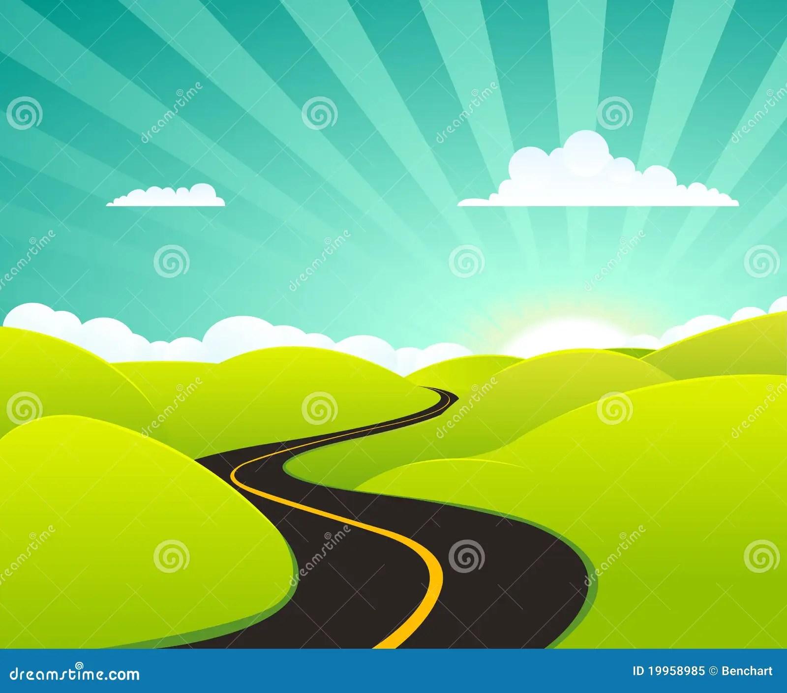 Car Wallpaper Themes Cartoon Summer Highway Royalty Free Stock Photo Image