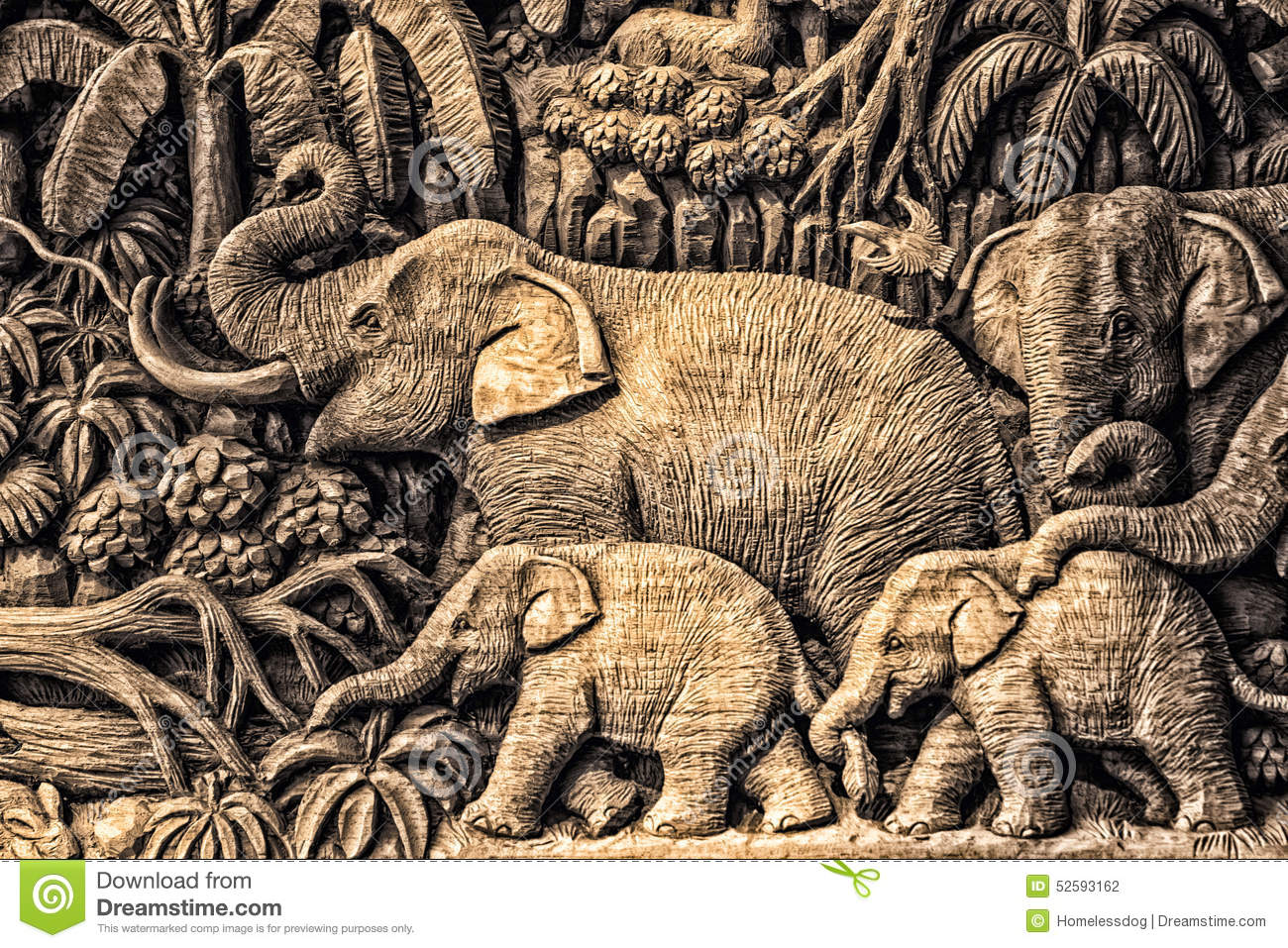3d Tree Live Wallpaper Carving Elephant Stock Photo Image 52593162