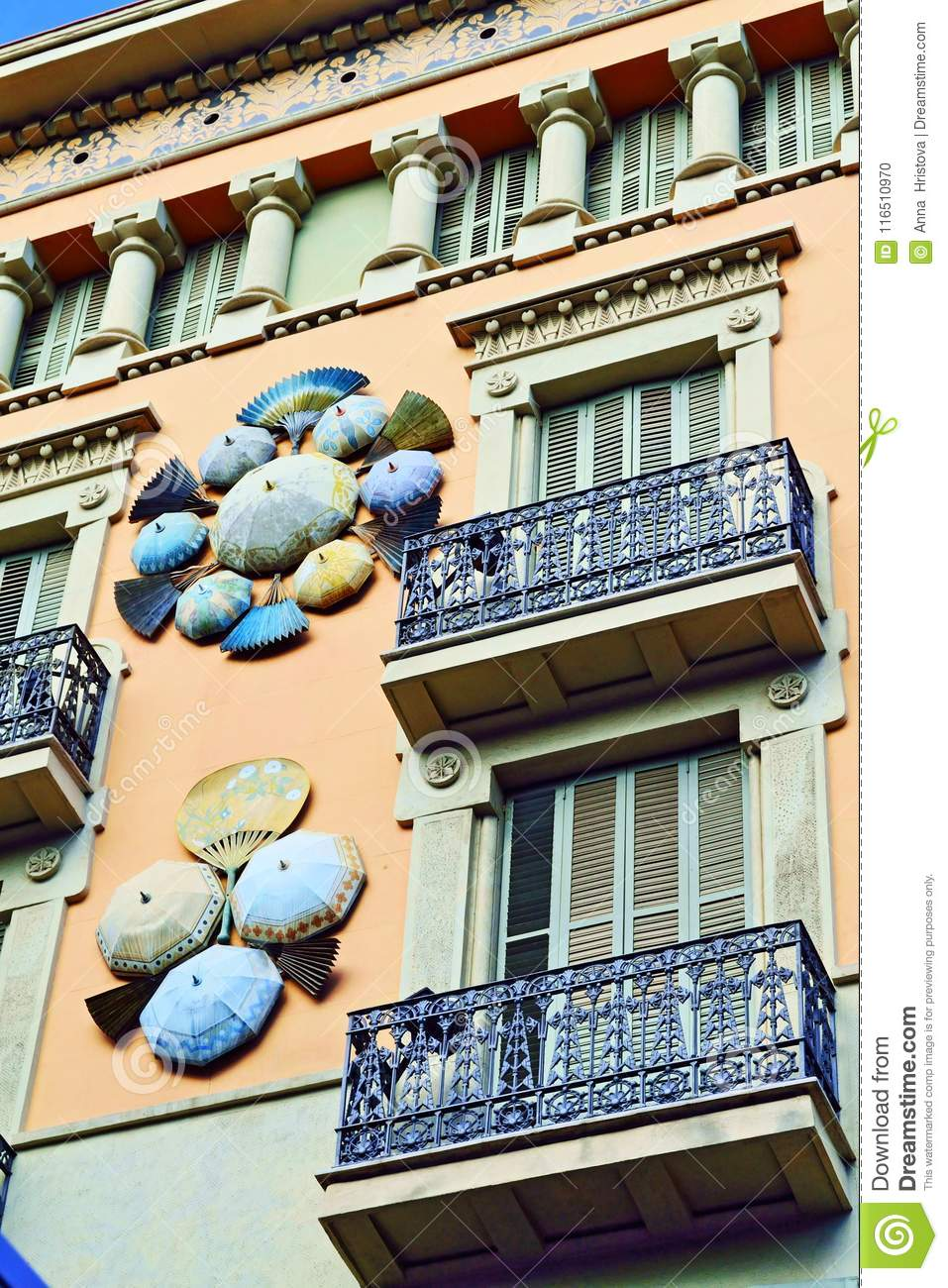 Casa Bruno The Casa Bruno Cuadros House Of Umbrellas Of Barcelona Stock Photo