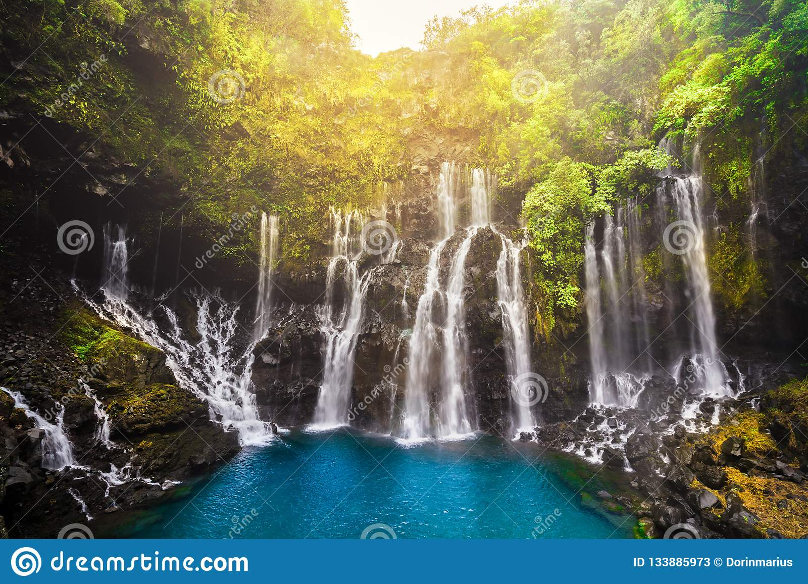 Reunion Island Cascade Of Grand Galet In Langevin Valley In La Reunion Island