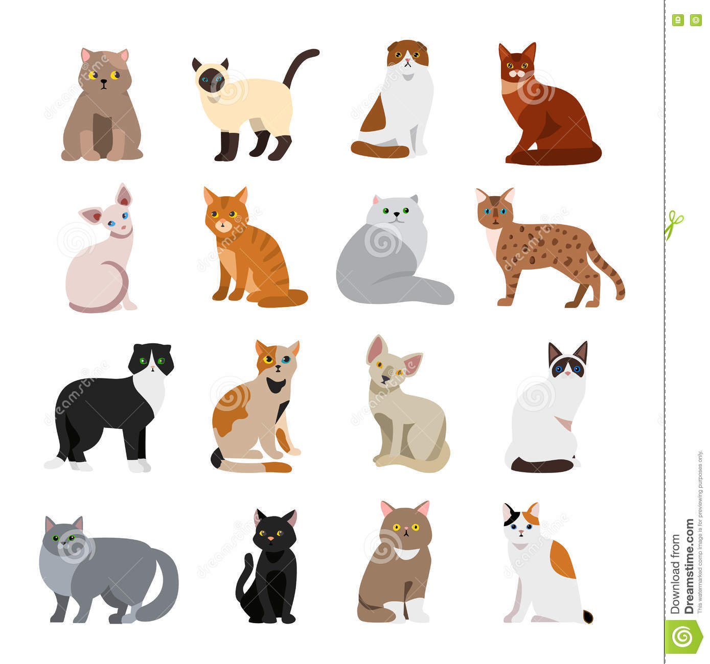 Katzenrassen Der Welt Poster Cat Breeds Cute Pet Animal Set Stock Vector - Illustration