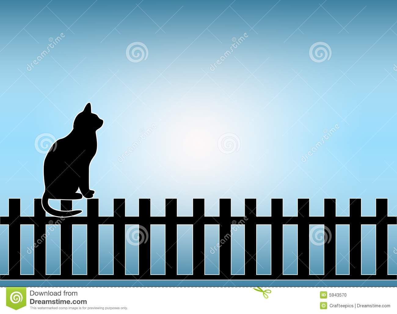 Black Animal Print Wallpaper Cat On Fence Stock Illustration Illustration Of Fence