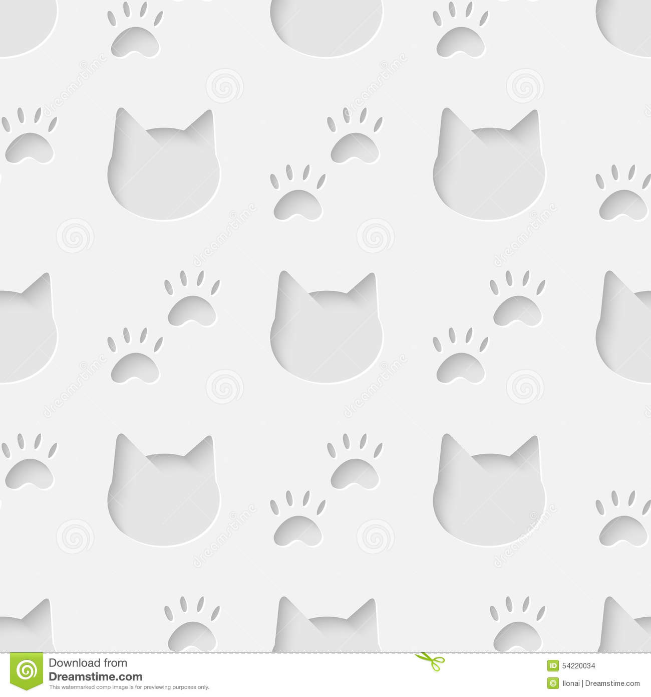 Cute Paw Print Wallpaper Cat Head And Paw Silhouette Seamless Pattern Stock Vector