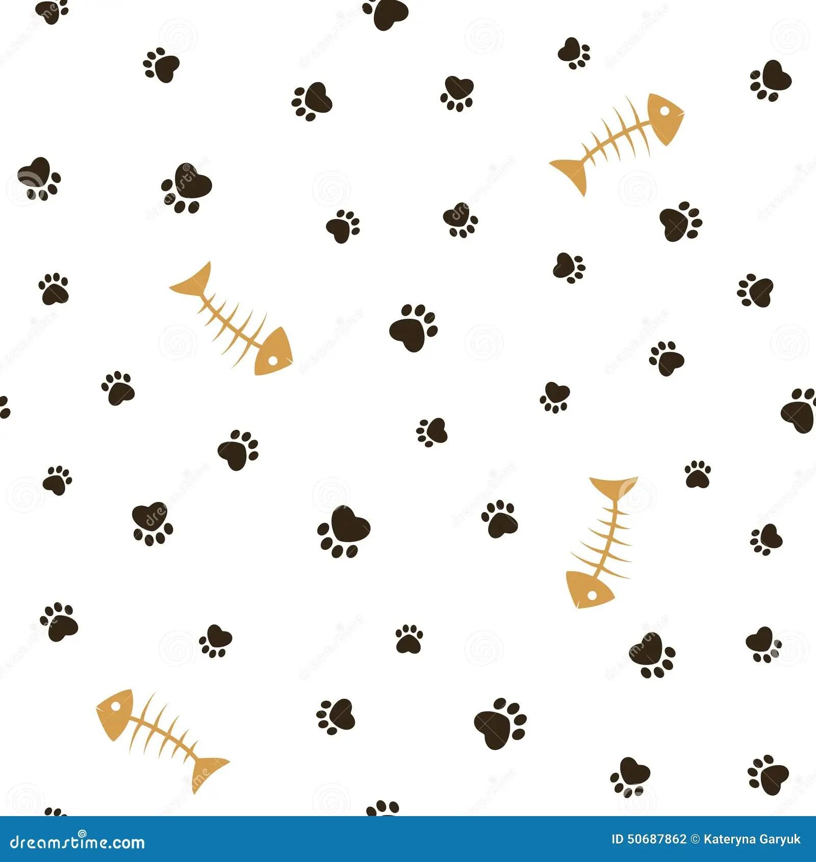 Skeleton Pattern Wallpaper Cute Cat Theme Seamless Background Stock Vector Image 50687862