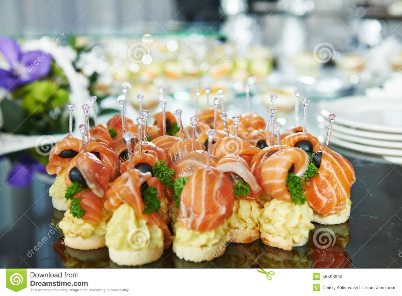 Table Snack Cuisine Catering Service Table With Food Set Stock Photo Image
