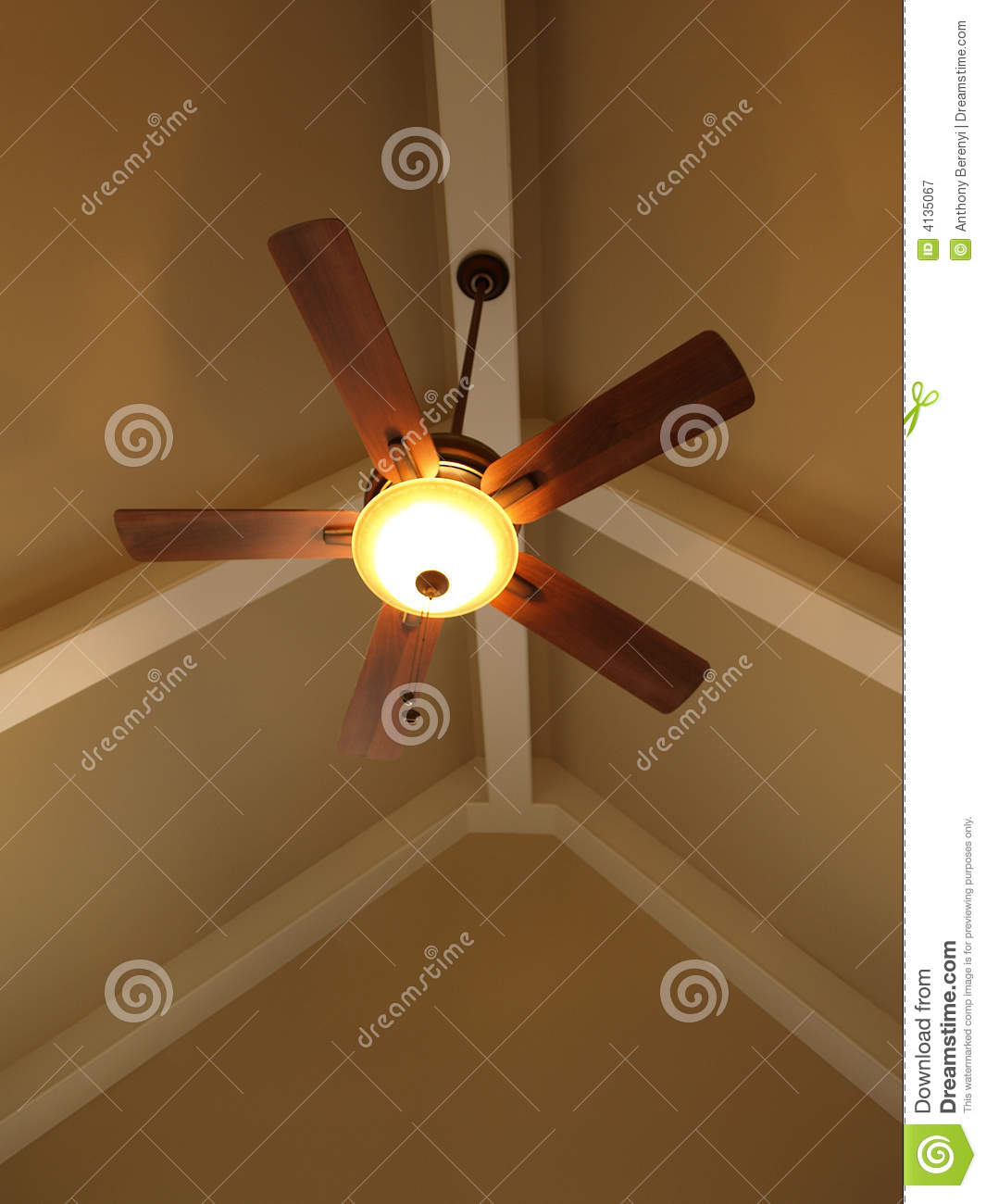 Propeller Ceiling Fan Ceiling Fan In Vaulted Ceiling Stock Image - Image Of