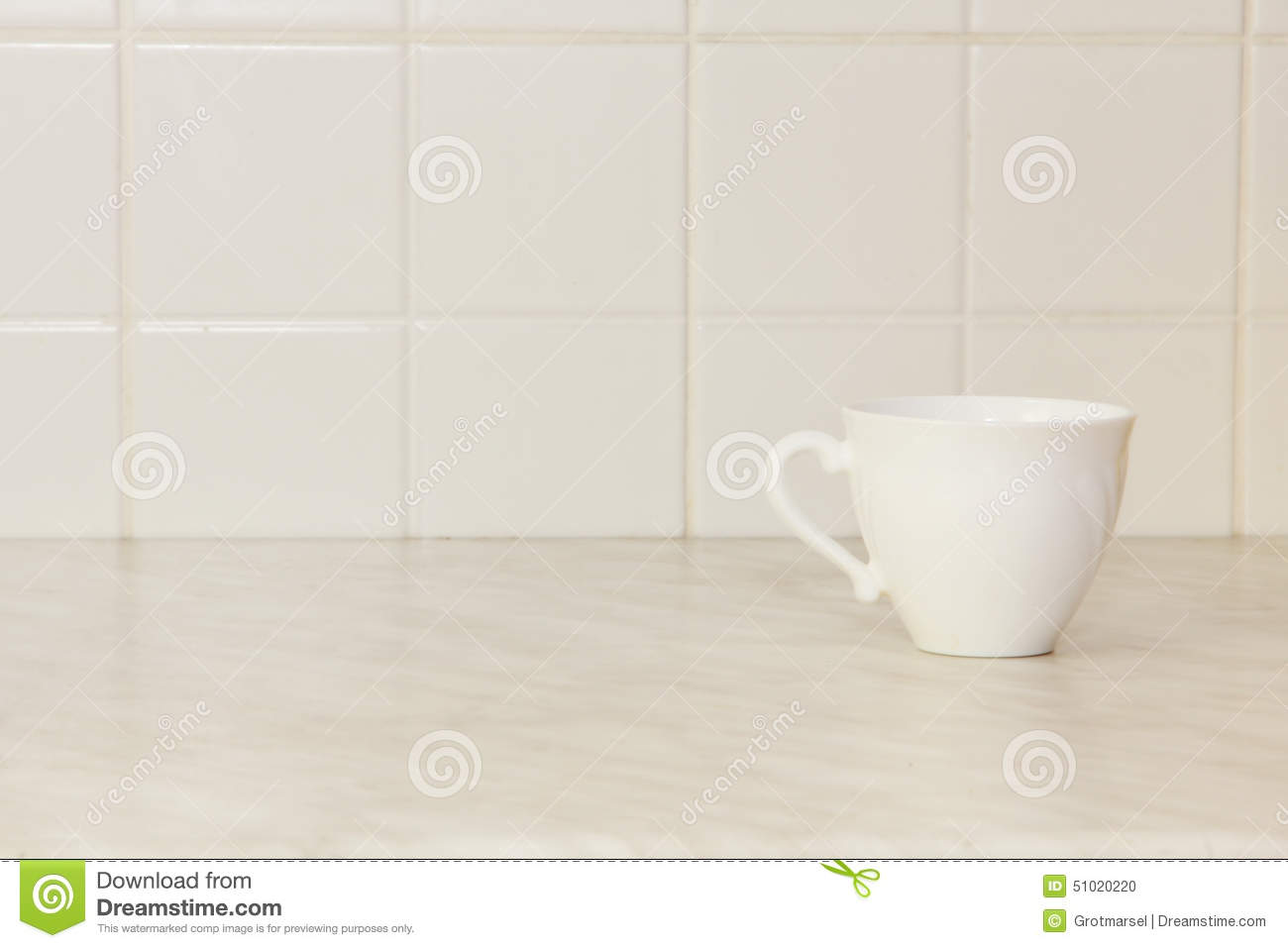 White Tile Kitchen Table Ceramic Tea Cup On White Kitchen Table Stock Photo