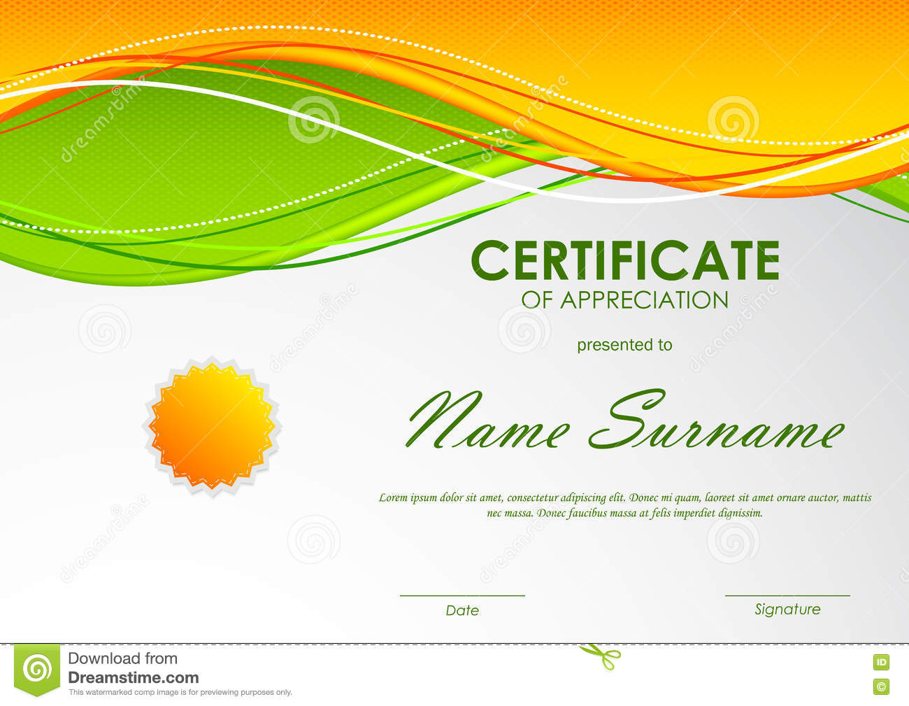Printable certificate appreciation template nature theme green certificate of appreciation template free choice image templates certificate appreciation template orange wavy background seal vector yelopaper Images