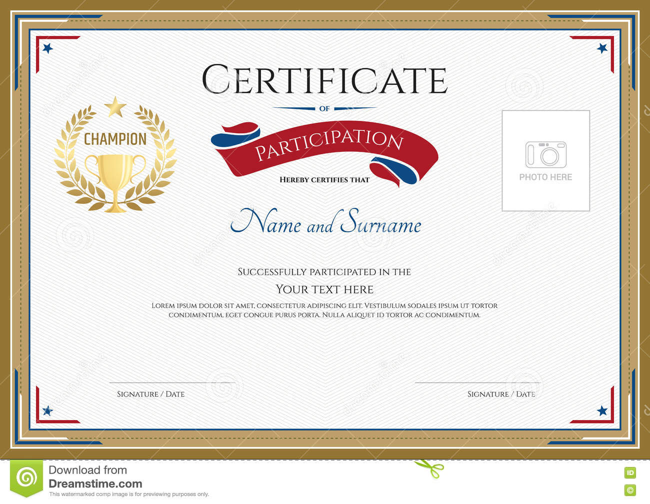Of Participation Blank Template Certificate Participation Template Sport  Theme Gold Broder Gold Trophy Champion Wreath Photo