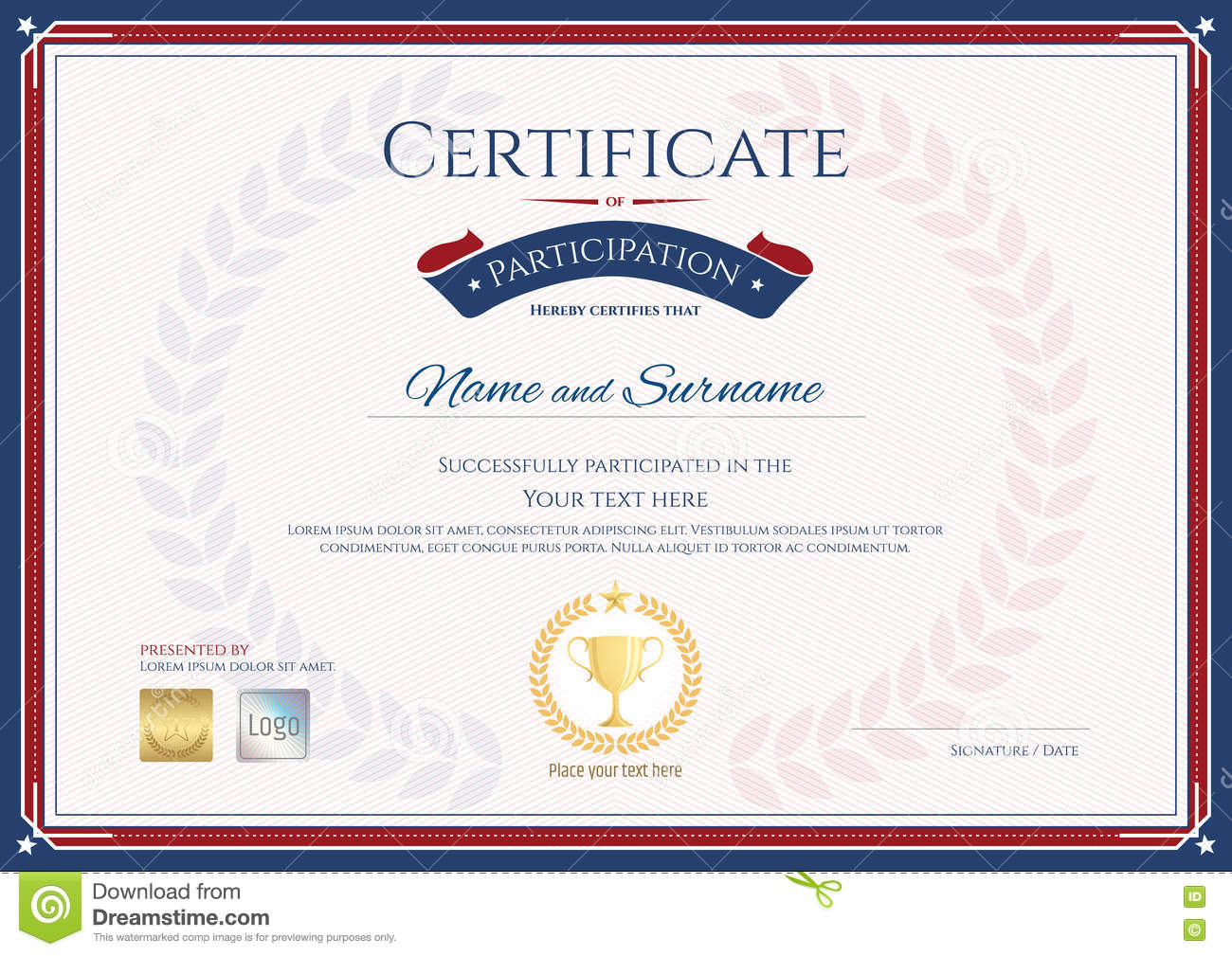 Certificate Of Participation Template In Sport Theme With