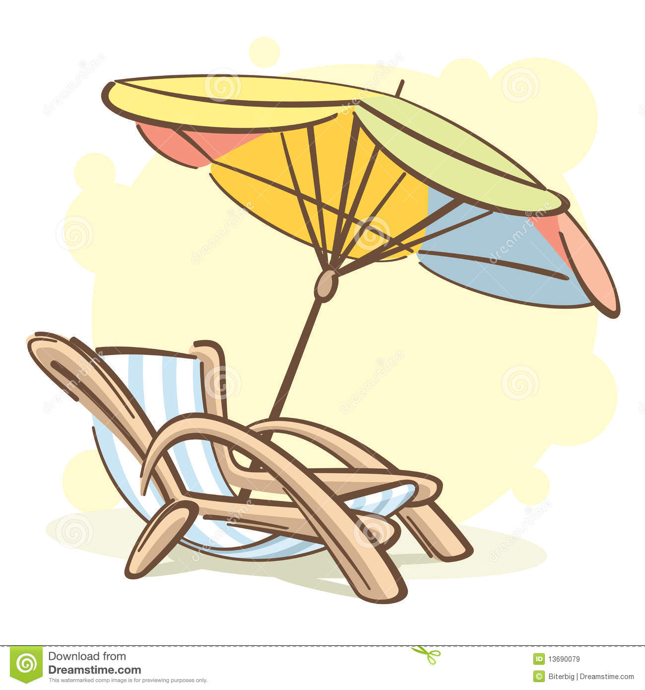 Liege Clipart Chaise Longue And Parasol Royalty Free Stock Images