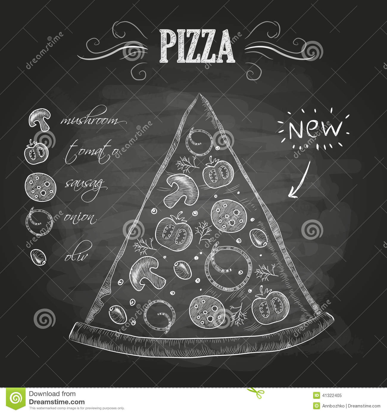 Arte Cafe Pizza Chalk Drawings Pizza Stock Vector Image Of Sketch