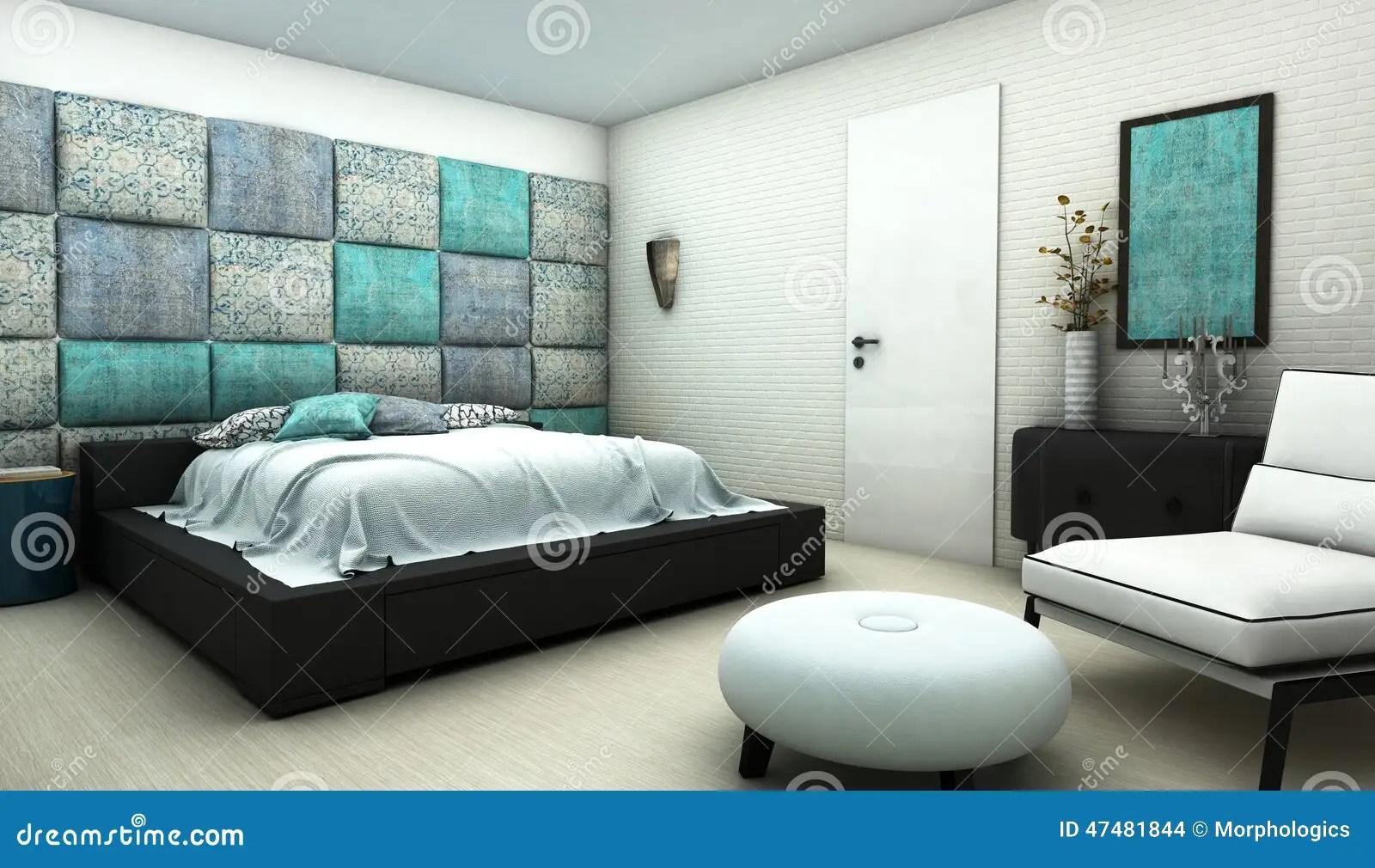 Chambre à Coucher Avec Le Mur Oriental De Textile De Modèle