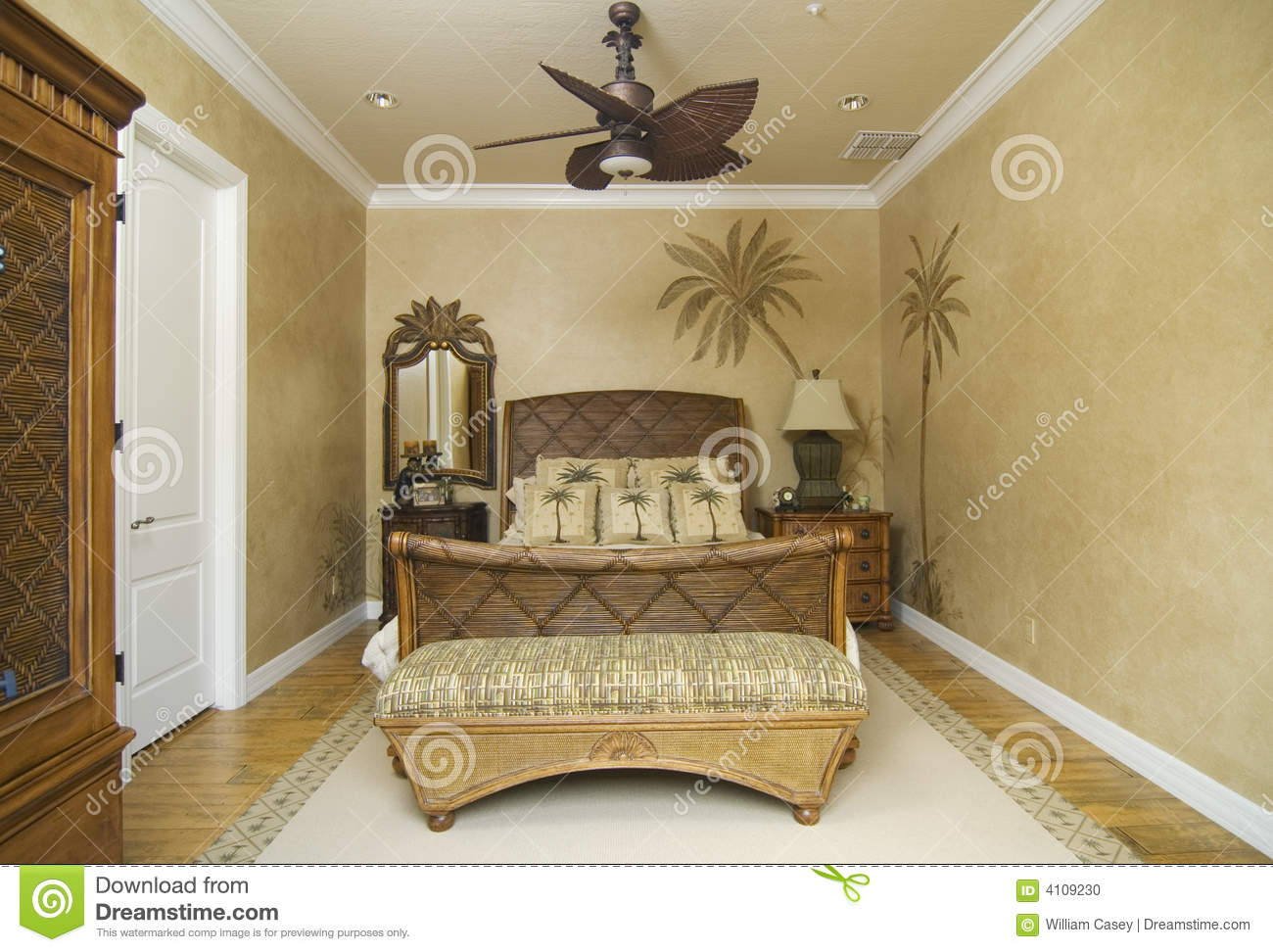 Chambre Tropicale Chambre à Coucher En Osier Tropicale Photo Stock Image