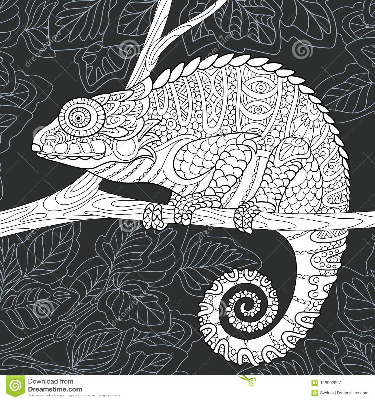 Chameleon Style Chameleon In Black And White Style Stock Vector Illustration Of