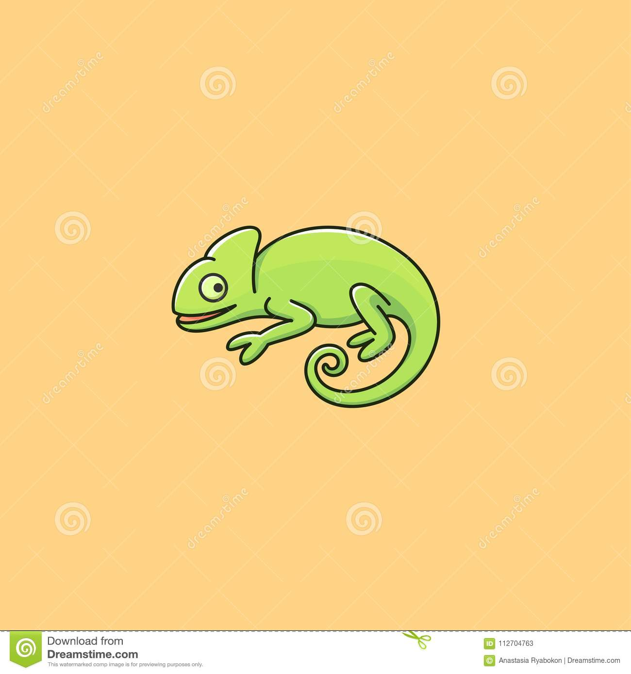 Chameleon Style Chameleon Cartoon Style Logo Stock Vector Illustration Of Animal