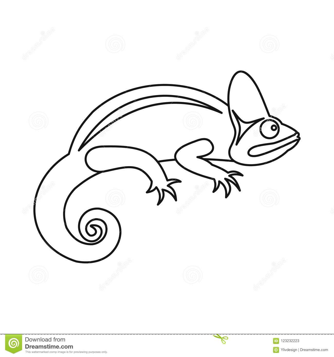 Chameleon Style Chameleon Icon Outline Style Stock Illustration Illustration Of