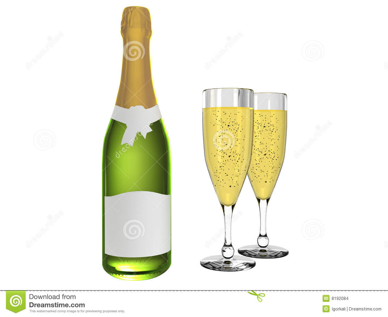 Champagner Glas Champagne And Glass With Champagne Stock Illustration