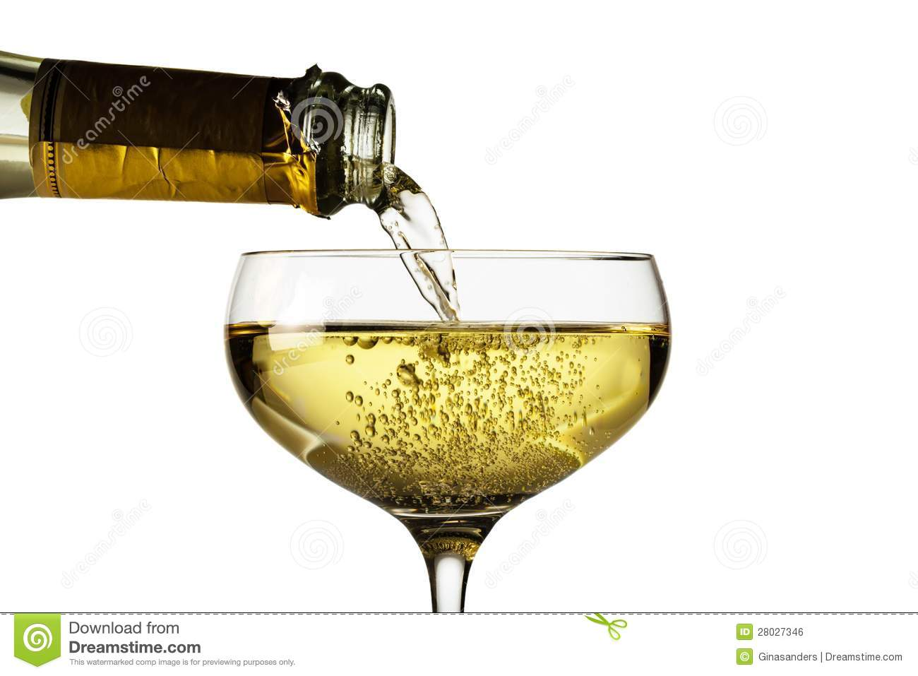 Champagner Glas Champagne Glass With Champagne Bottle Stock Photo Image