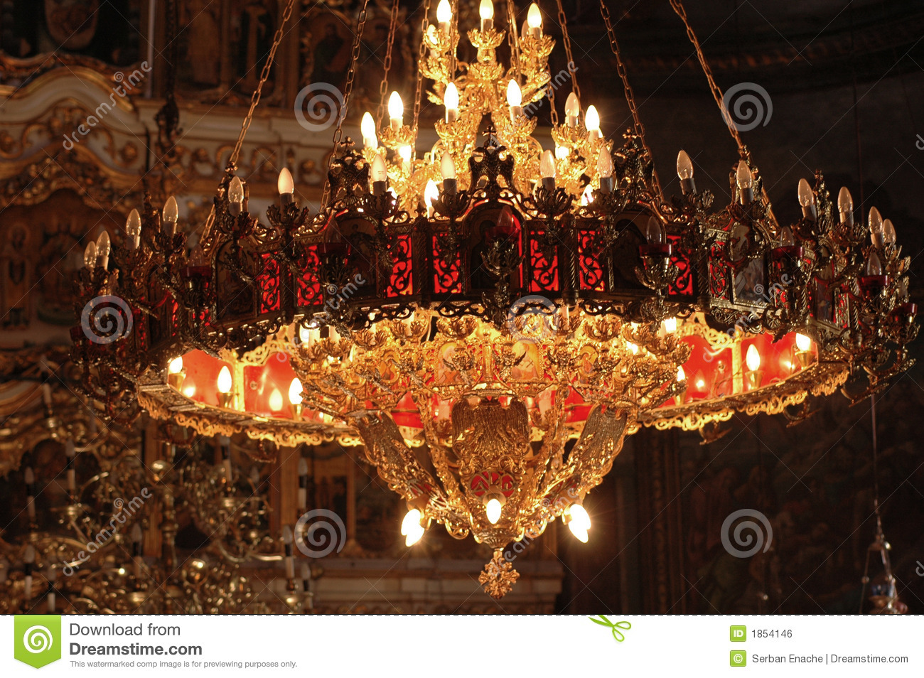 Lighting Lampen Chandelier In An Orthodox Church Stock Photo - Image: 1854146
