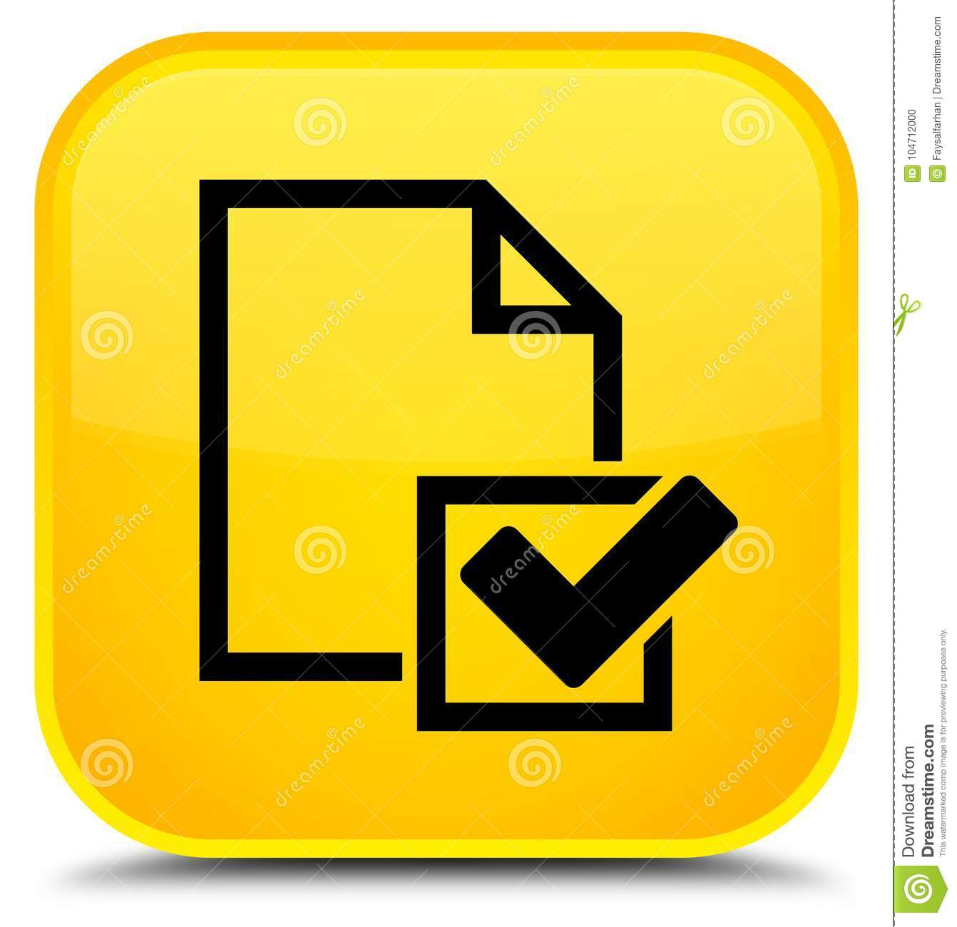 Email Icon Isolated On Special Yellow Square Button Abstract Checklist Icon Special Yellow Square Button Stock
