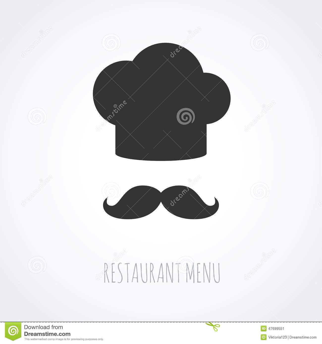 Cute Chef Wallpaper Chef Hat And Mustache Abstract Vector Icon Stock Vector