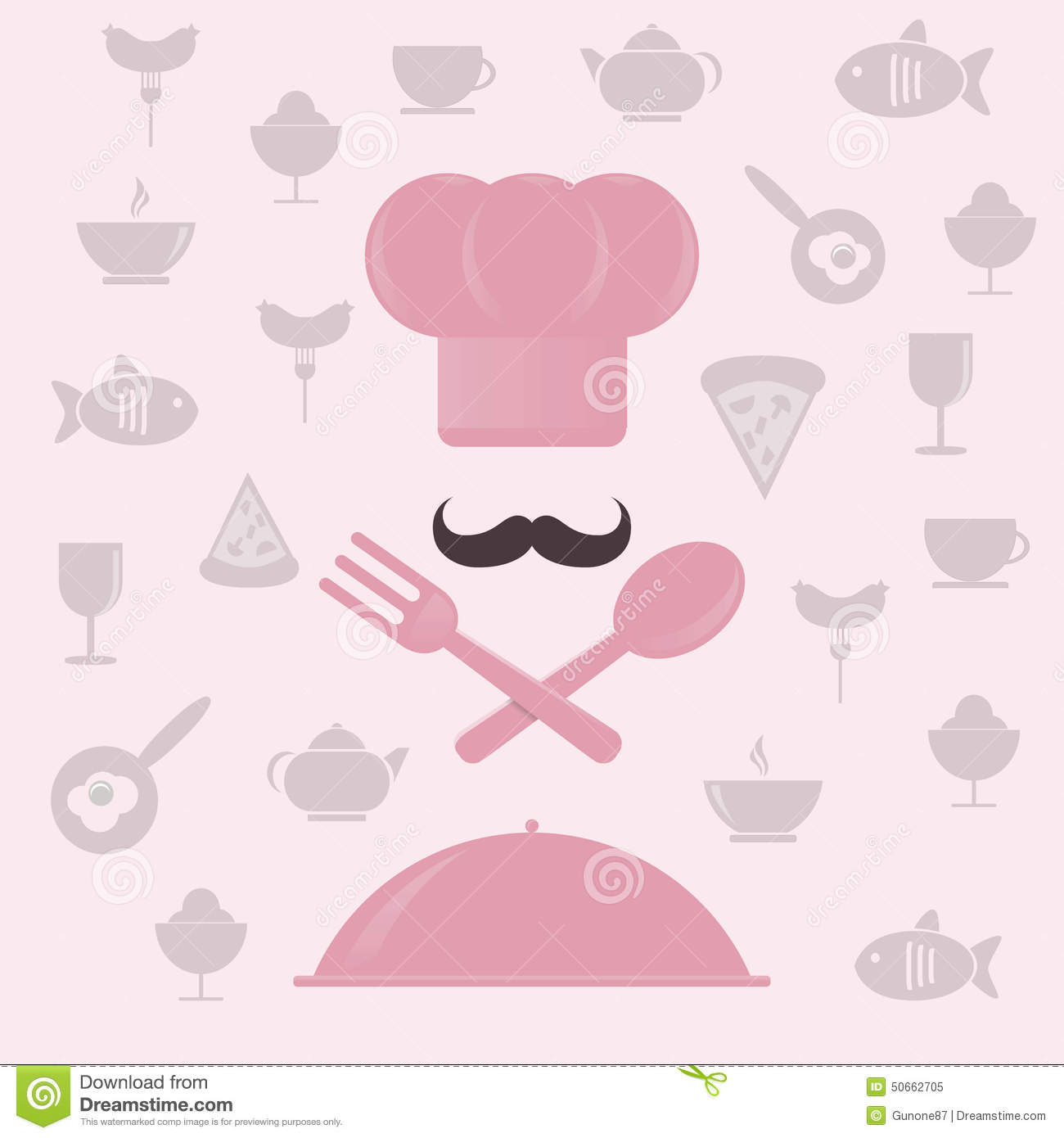 Pinke Küchenutensilien Chef 39s Hat And Spoon Stock Illustration Cartoondealer