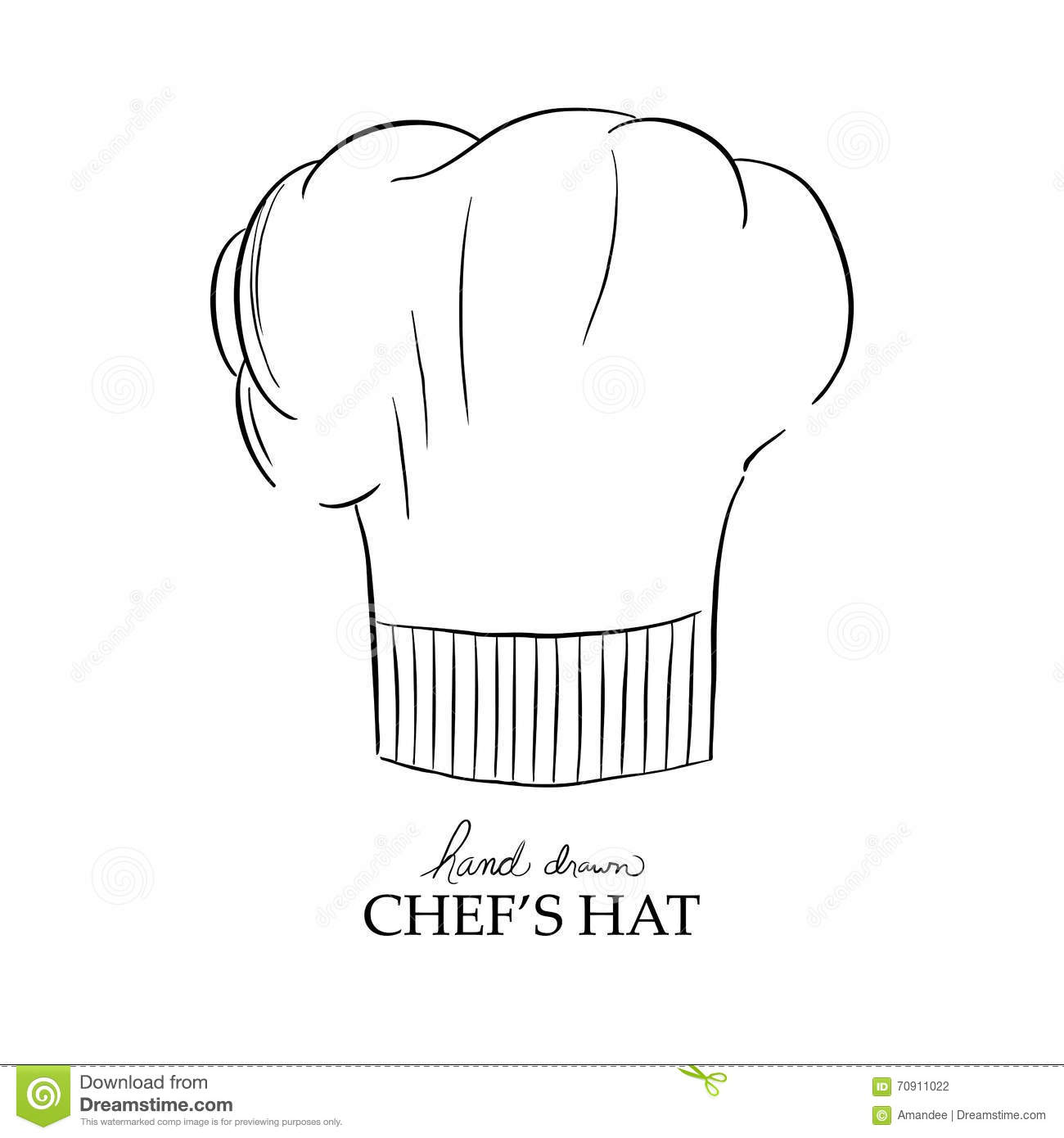 Toque De Chef Chef Hat Vector Hand Drawn Illustration Stock Vector