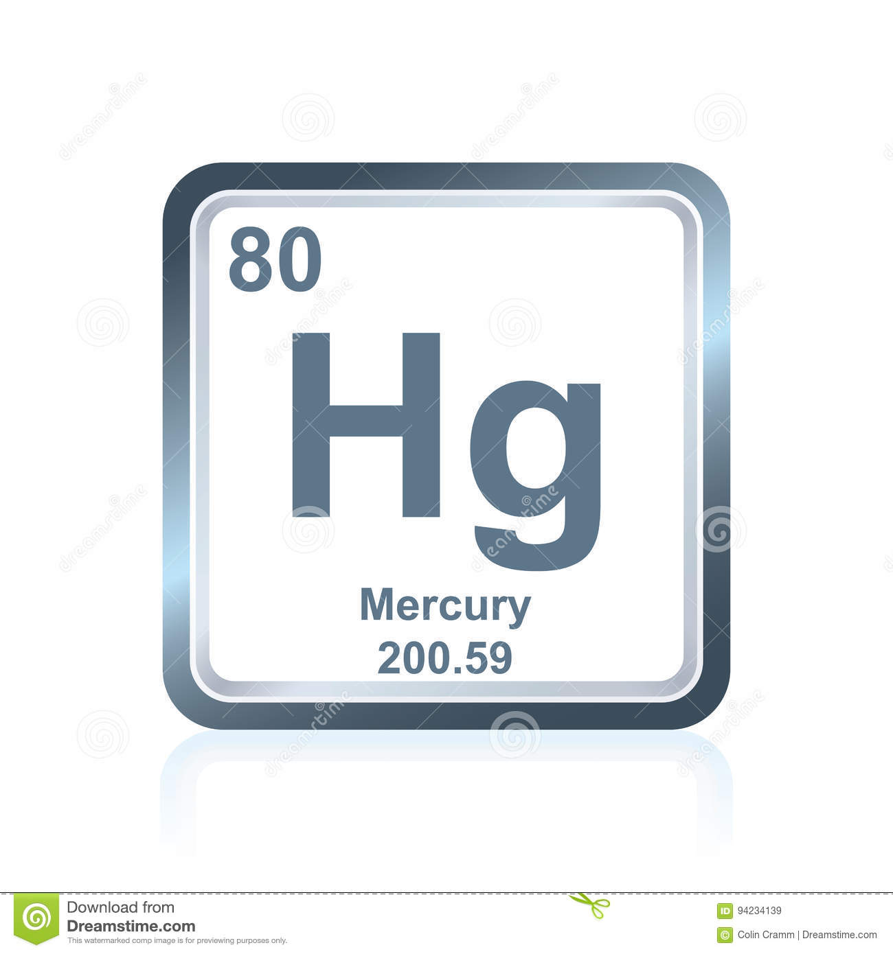 Tavola Periodica Hg Chemical Element Mercury From The Periodic Table Stock