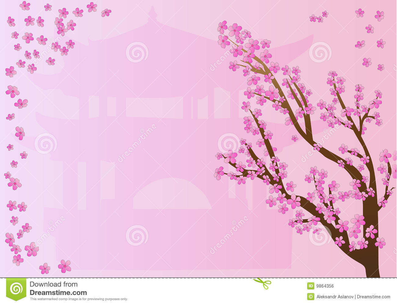 Beautiful Chinese Girl Painting Wallpaper Cherry Blossoms On Pink Design Stock Illustration