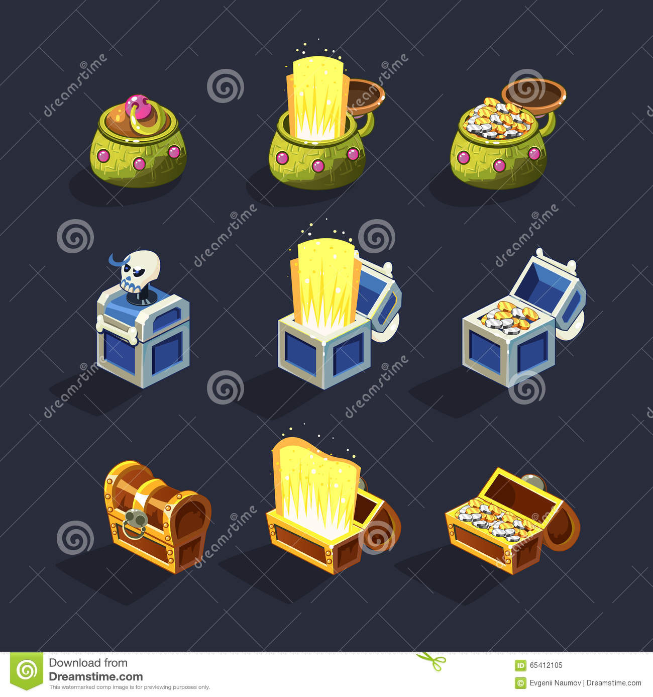 Chest Game Set Chest Set For Game Resource Stock Vector Image 65412105