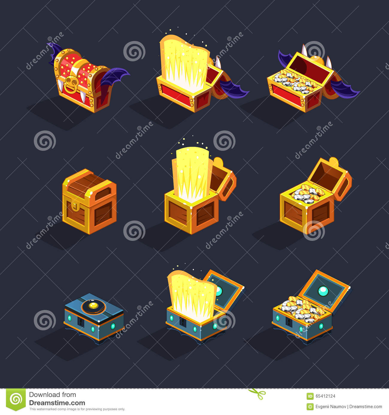 Chest Game Set Chest Set For Game Resource Vector Stock Vector Image
