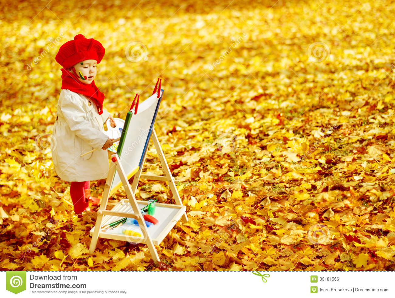 Fall Leaves Iphone 7 Wallpaper Autumn Baby Girl Drawing In Fall Leaves Park Kid Painting