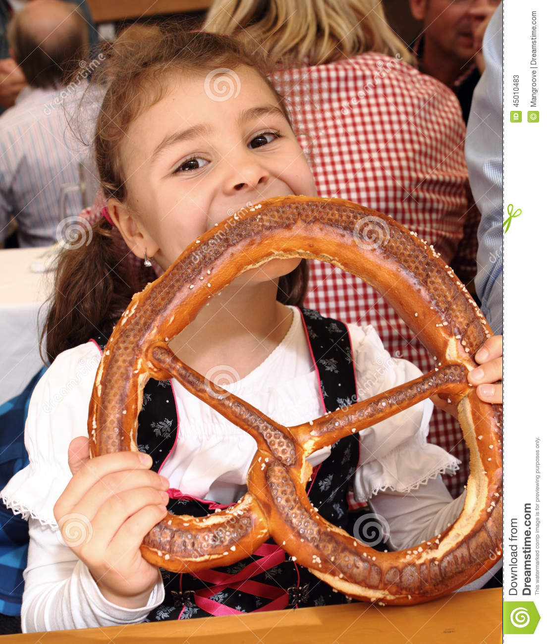 Baby Model München Child Eating Pretzel At Oktoberfest Munich Germany Stock