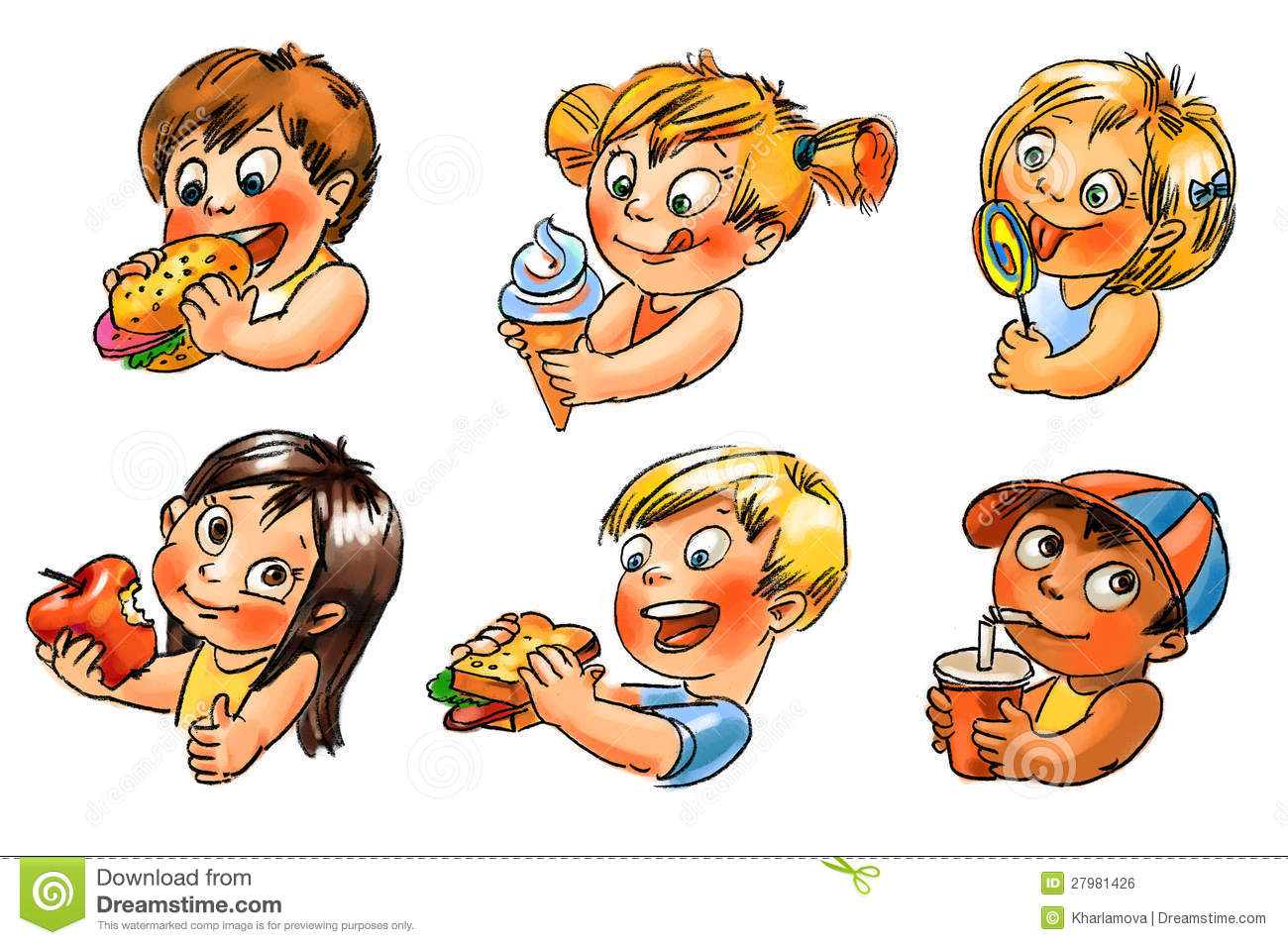 Baby Only Eats Sweet Food Child Eats Hand Painted Illustration Stock Illustration