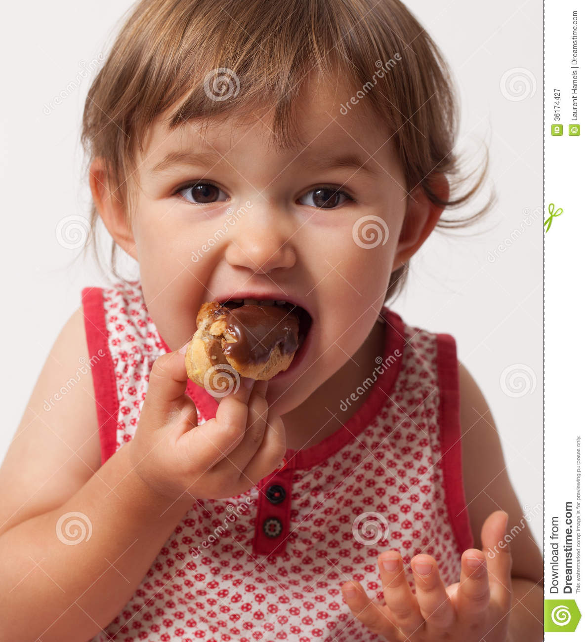 Baby Only Eats Sweet Food Child Gluttony For Chocolate Food Royalty Free Stock