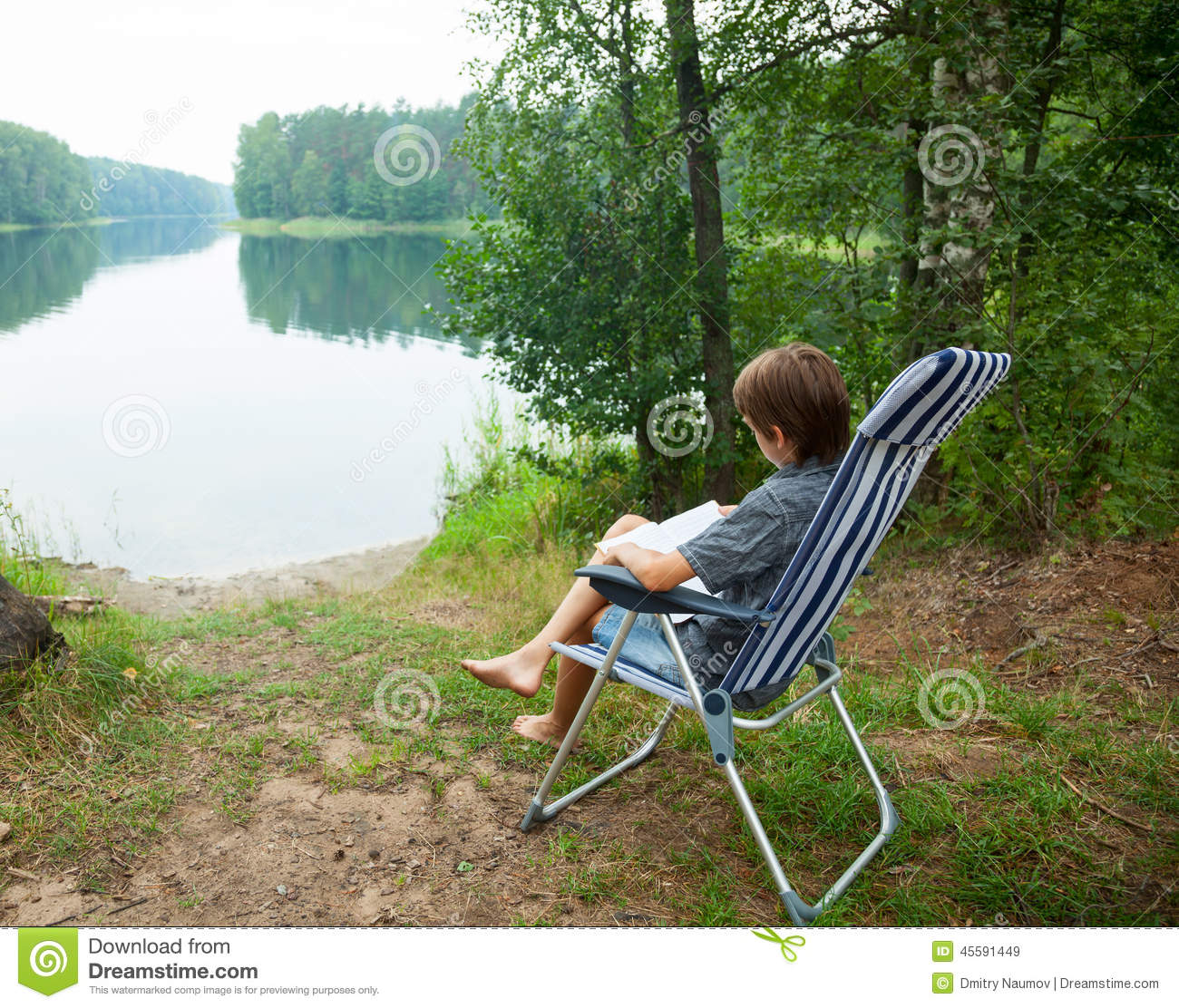 Outdoor Reading Chair Child Reading Book Outdoor Stock Image Image Of