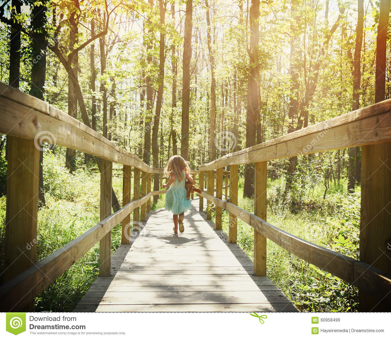 Wallpaper Download Alone Girl Child Running In Woods With Sunlight Stock Photo Image