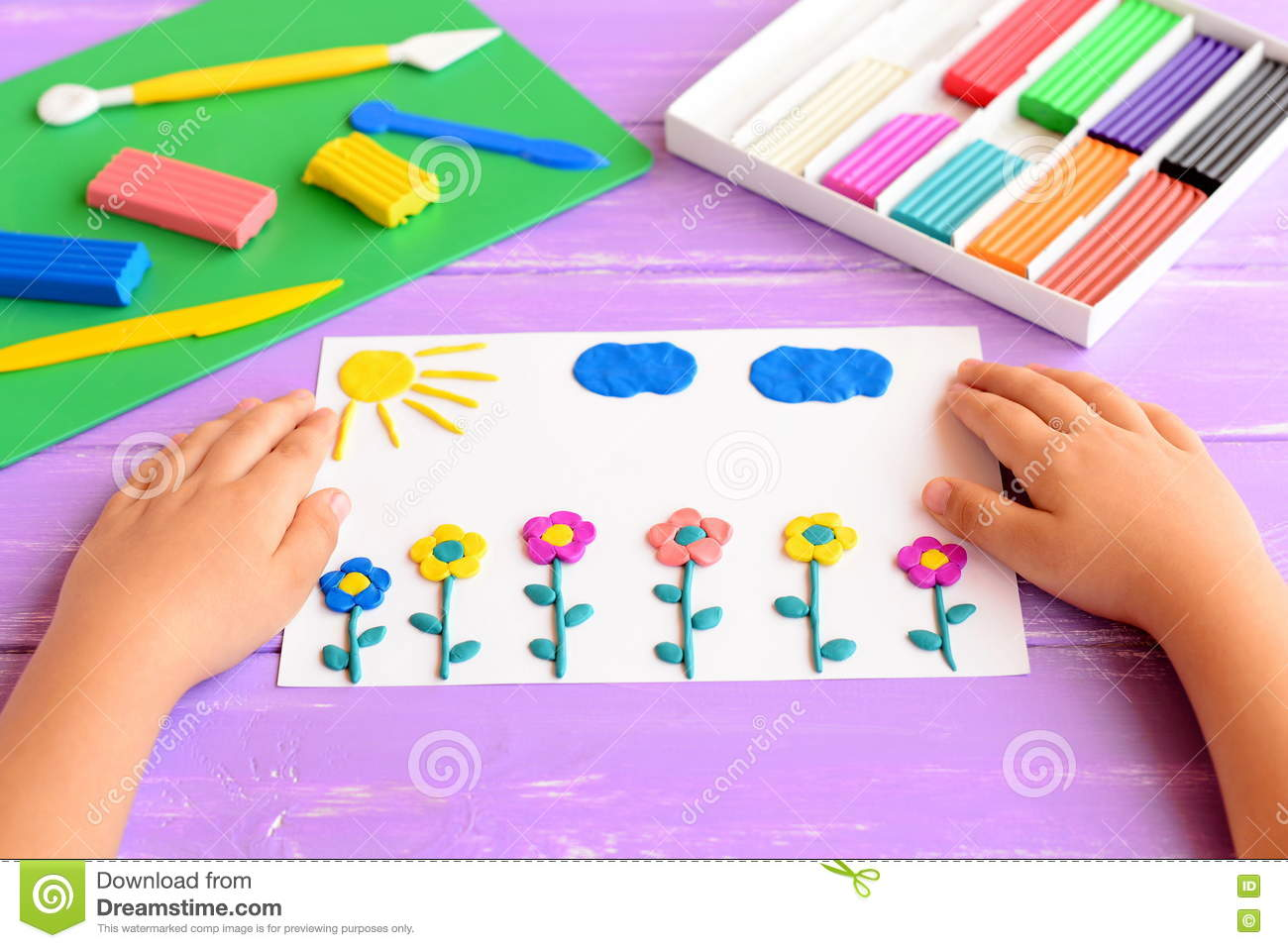 Childrens arts and crafts supplies -  Arts And Crafts Supplies For Kids Child Shows A Card Download