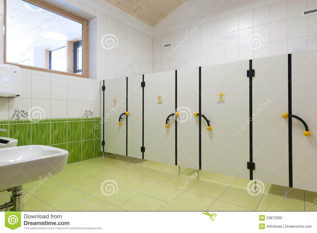 Wc Trennwand Kita Child Toilets In Kindergarten With Nice Green Gras Stock
