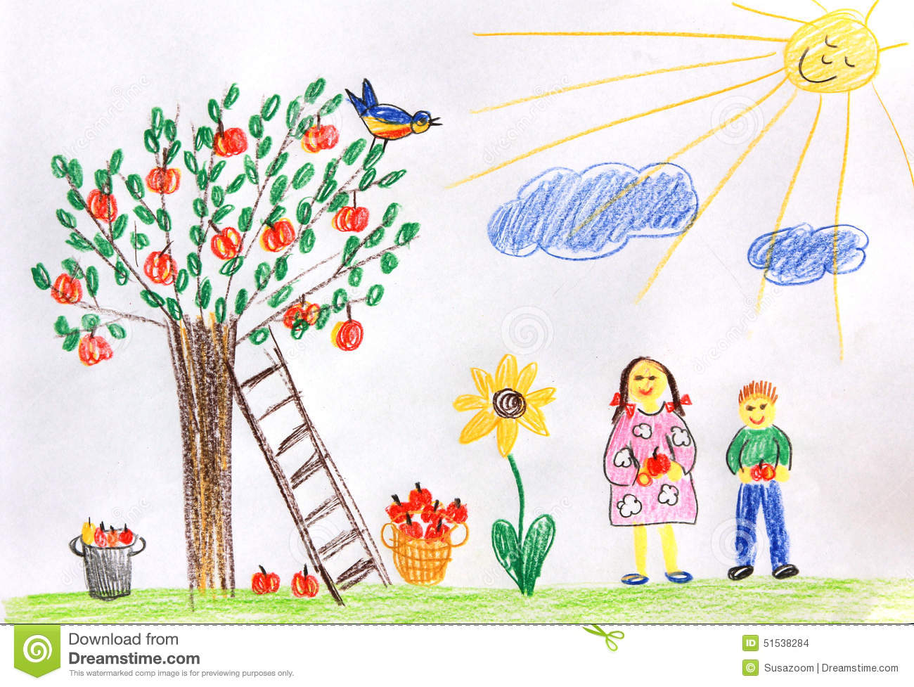 Playing garden drawing for kids - Garden Drawing Pictures For Kids Download