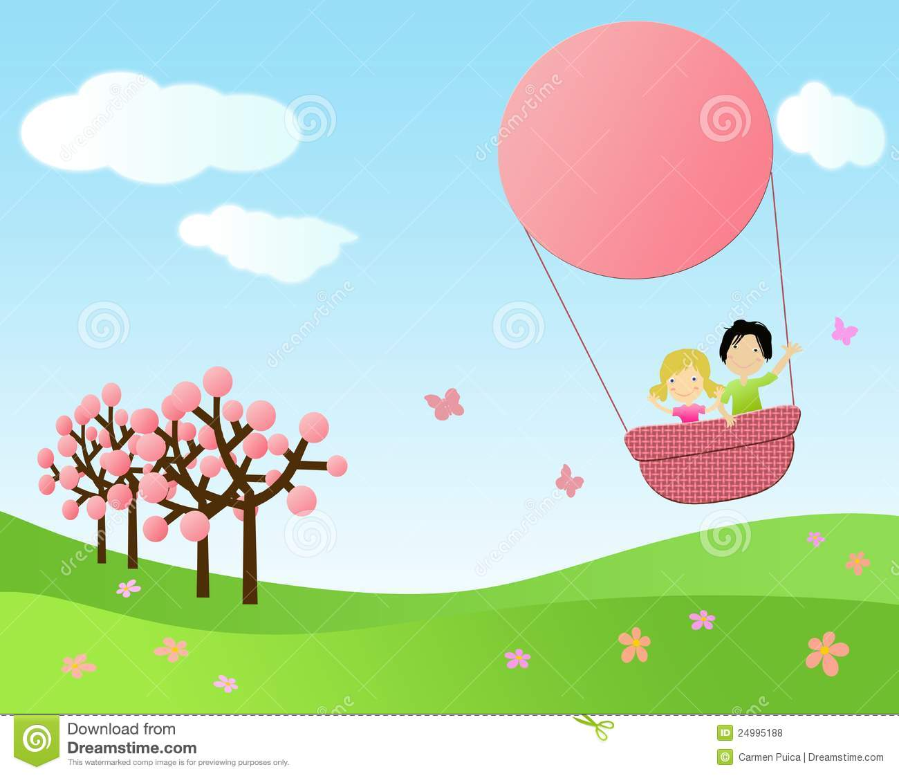 Cartoon Girl And Boy Wallpaper Children Flying In A Hot Air Balloon Royalty Free Stock