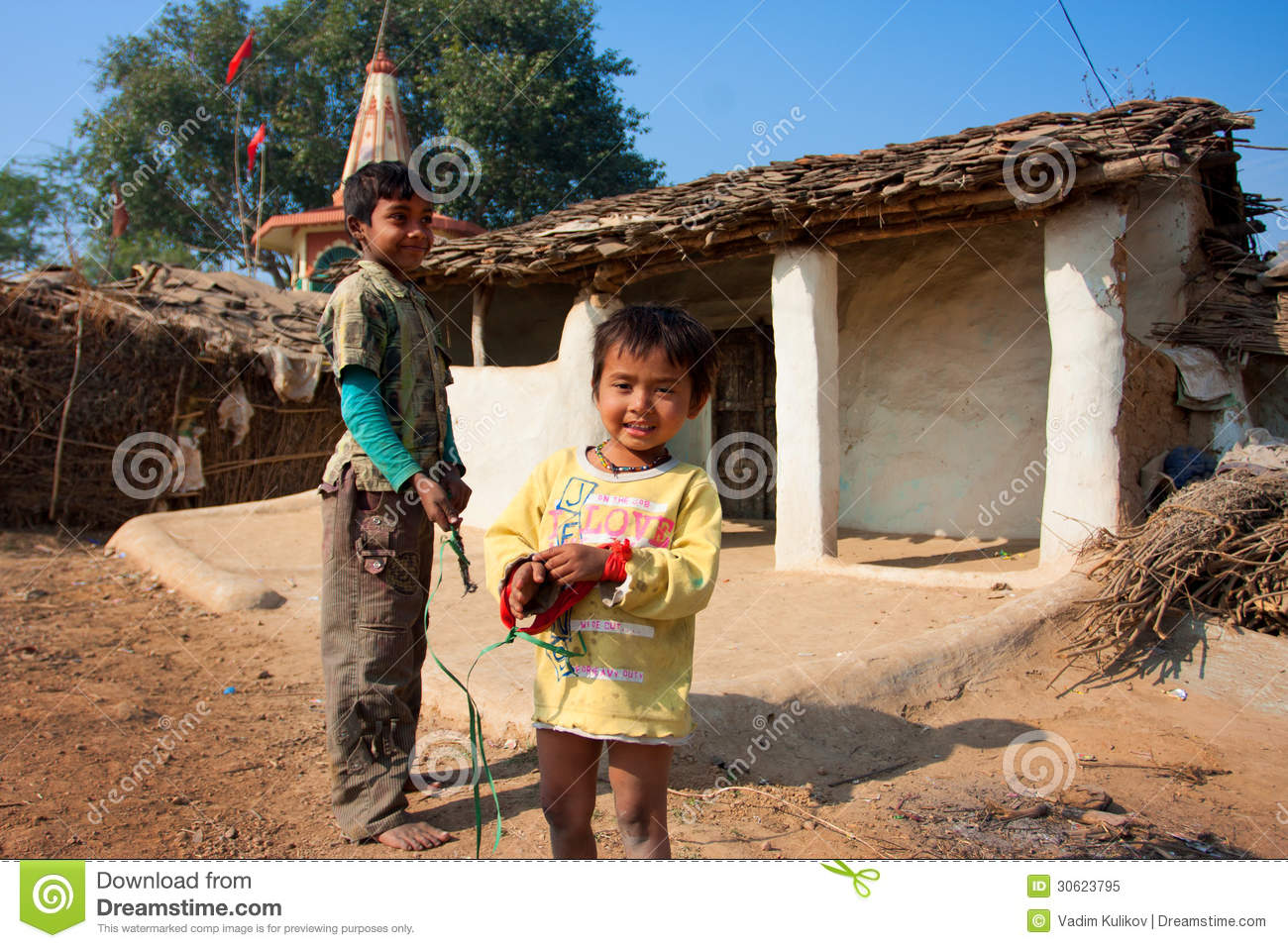 Cute Asian Baby Boy Wallpaper Children Play Near The Mud Village Houses Editorial Image