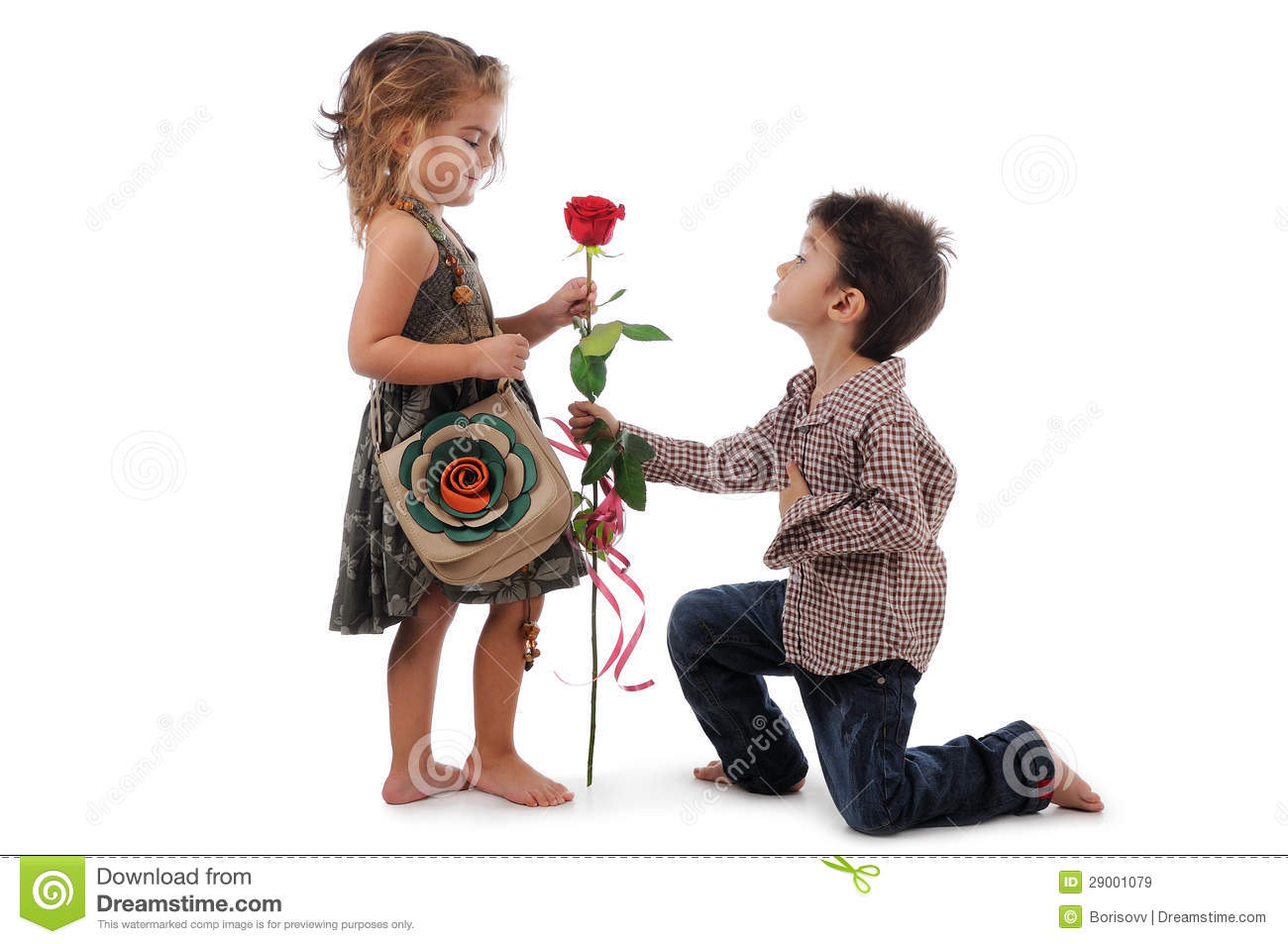 Boy And Girl Kissing Hd Wallpapers Children With Rose Stock Image Image Of Color